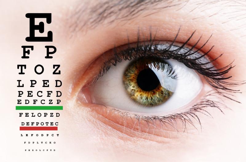 Womans eye and eyesight vision exam chart